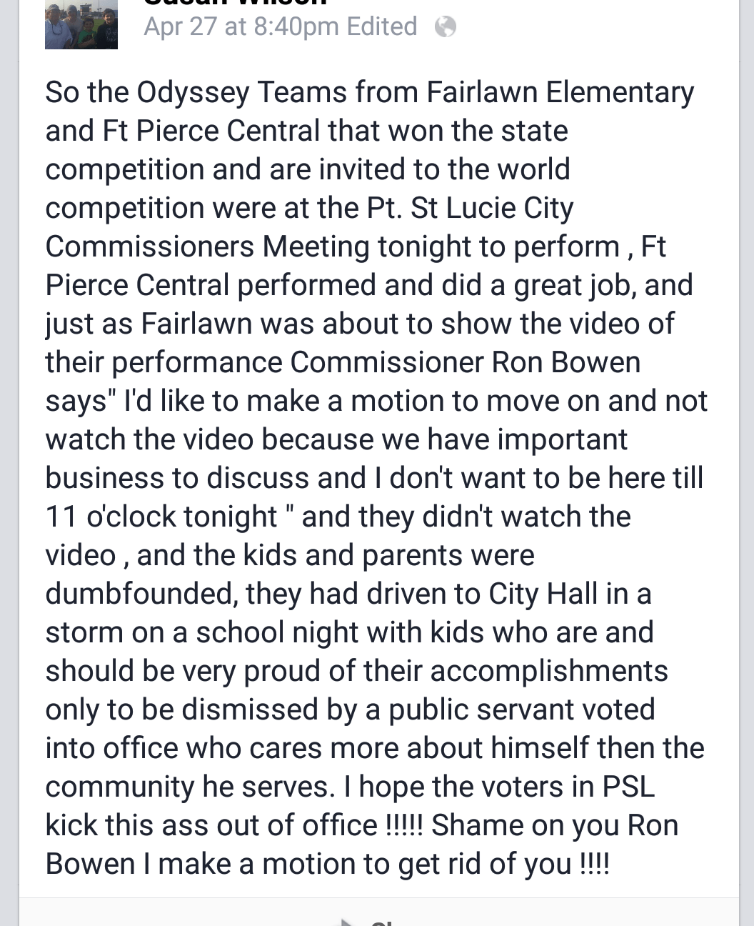 PSL Councilman Ron Bowen Doesn't Have Time for Your Kids